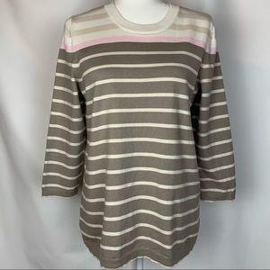 Eddie Bauer Striped Sweater tan and cream